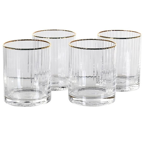 GLASS RIBBED TUMBLERS WITH GOLD RIM - SET OF 4