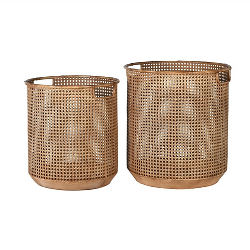 SET OF 2 RATTAN EFFECT BASKETS