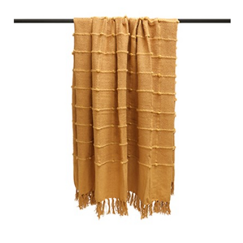 OCHRE TASSELLED THROW 140CM X 180CM