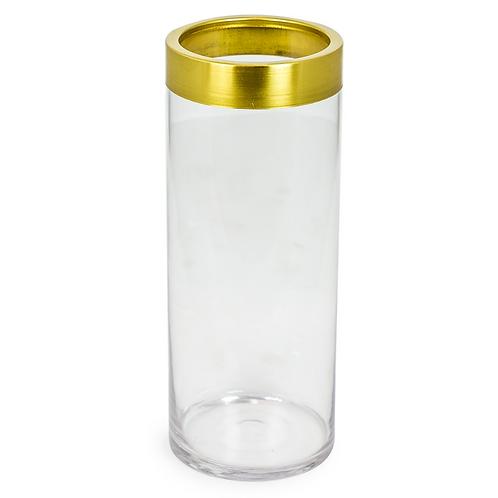 MEDIUM GLASS VASE WITH GOLD TRIM