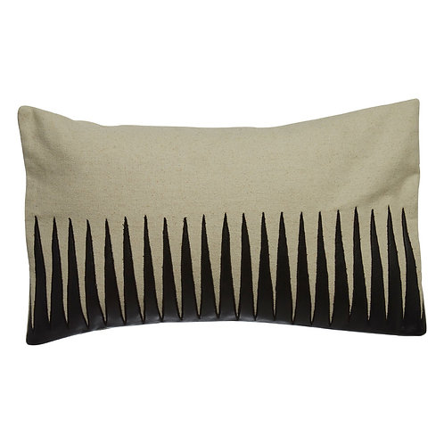 LEATHER EFFECT JAGGED CUSHION