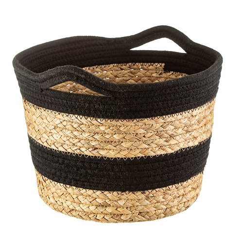 BLACK ROPE AND SEAGRASS BASKET