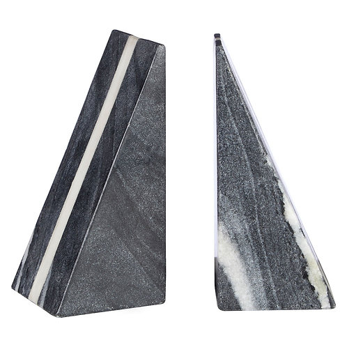 GREY AND WHITE MARBLE BOOK ENDS
