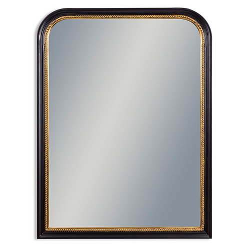 LARGE BLACK WITH GOLD BEADING PORTRAIT WALL MIRROR