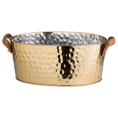 LARGE BRASS CHAMPAGNE COOLER WITH LEATHER HANDLE