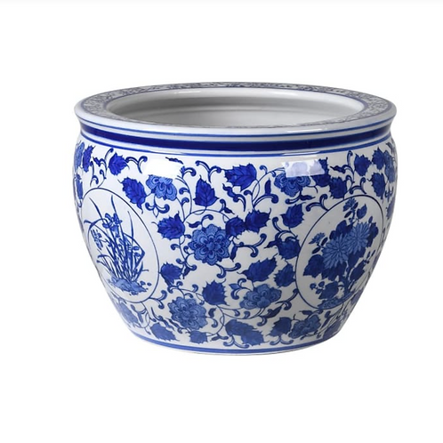 LARGE BLUE AND WHITE FLORAL PLANT POT