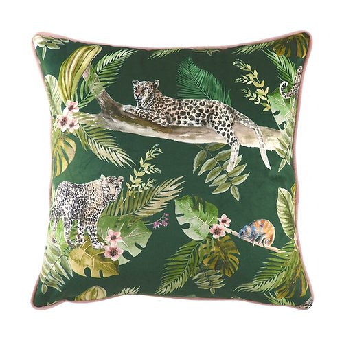 GREEN JUNGLE LEOPARD CUSHION