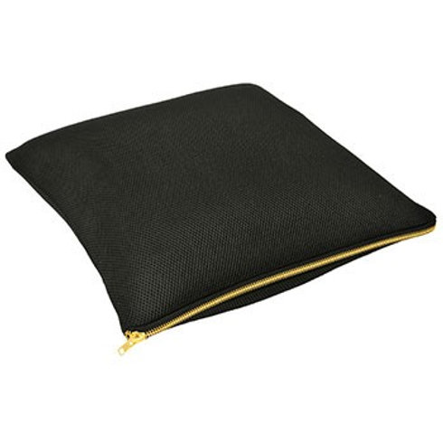 BLACK CUSHION WITH GOLD ZIP DETAIL