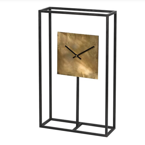 BLACK FRAME CLOCK WITH GOLD SQUARE FACE