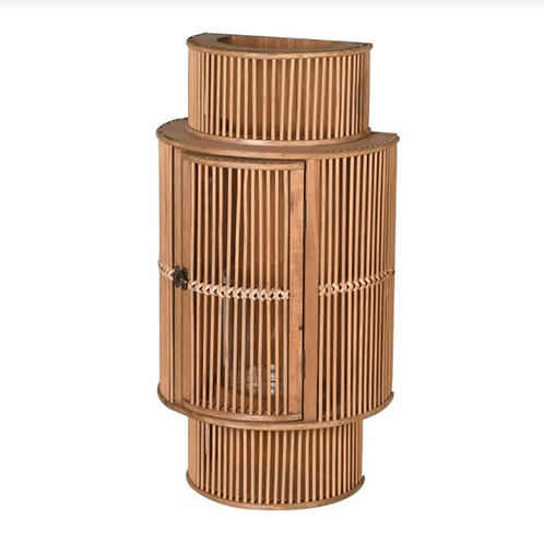 LARGE CURVED BAMBOO WALL LANTERN