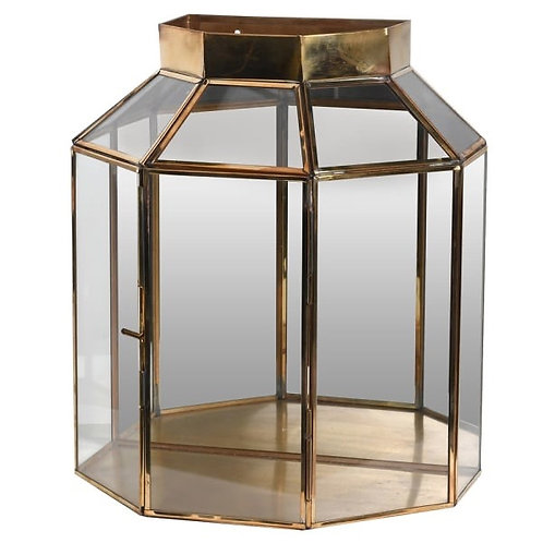 BRASS AND GLASS WALL LANTERN