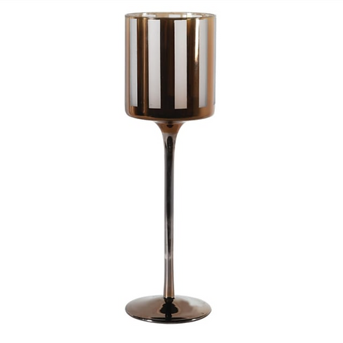 TALL GOLD AND WHITE STRIPED T-LIGHT HOLDER