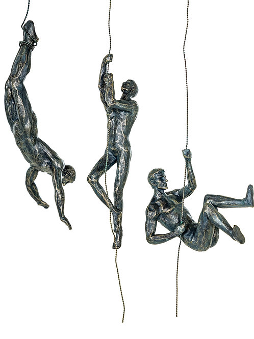 SET OF 3 ABSEILING MEN WALL FIGURES