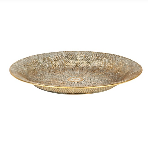 LARGE ROUND GOLD TRAY