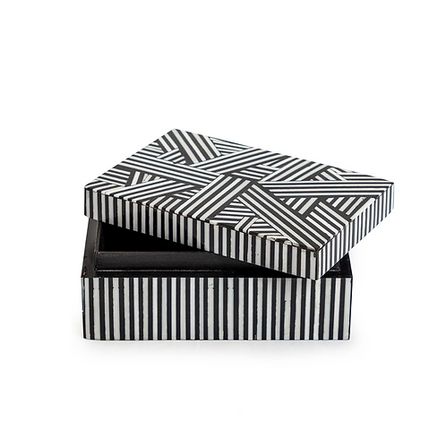 BLACK AND WHITE STRIPY BOX