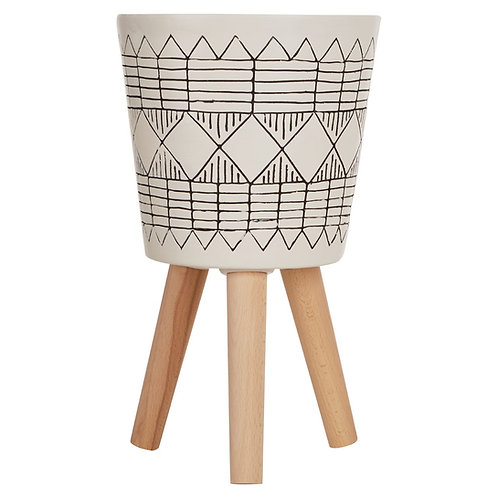 WHITE AND BLACK PLANTER ON LEGS