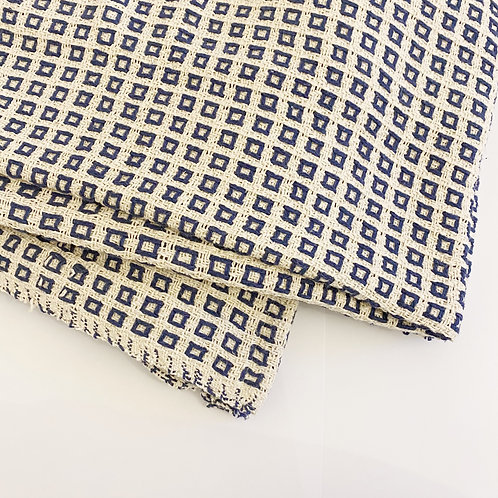 NAVY AND NATURAL WAFFLE THROW 150CM X 200CM