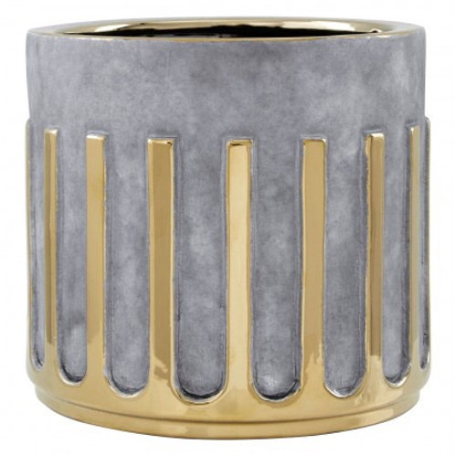 LARGE GREY AND GOLD CERAMIC PLANTER