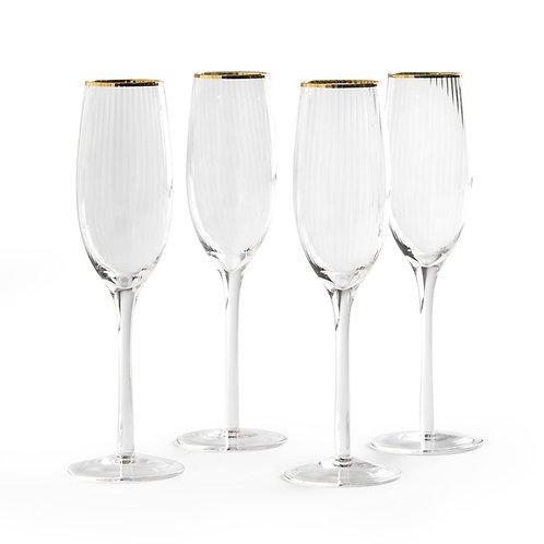 GOLD RIM RIBBED CHAMPAGNE GLASSES - SET OF 4