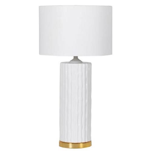 WHITE & GOLD CERAMIC BAMBOO LAMP