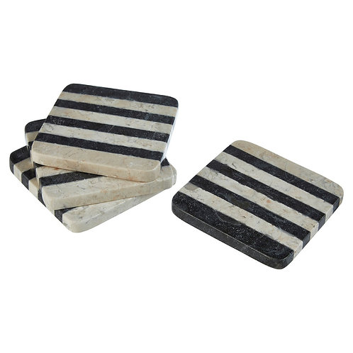 BLACK AND WHITE MARBLE COASTERS X 4