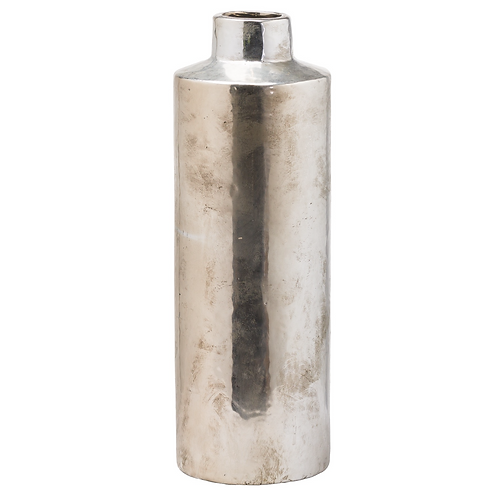 TALL SILVER VASE WITH PATINA