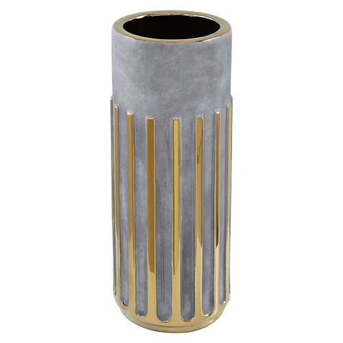 LARGE GREY CERAMIC AND GOLD LINEAR VASE