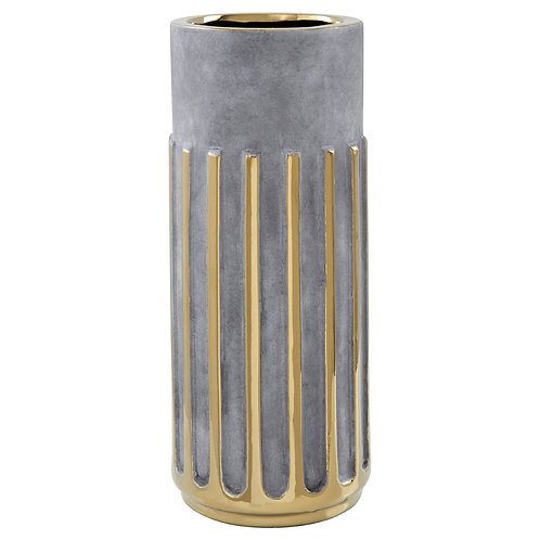 GREY CERAMIC AND GOLD LINEAR VASE