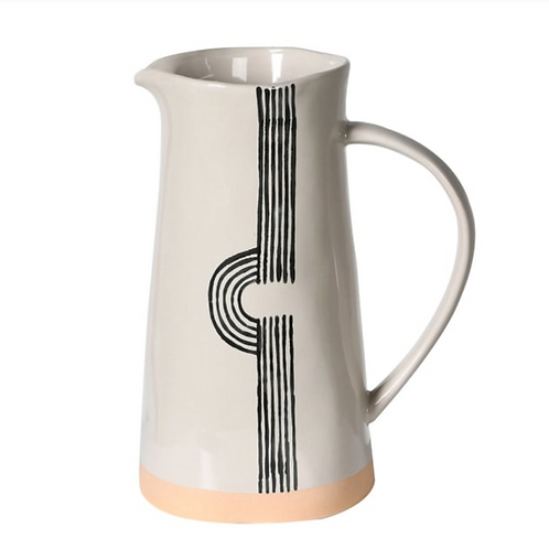 CREAM & BLACK CERAMIC JUG