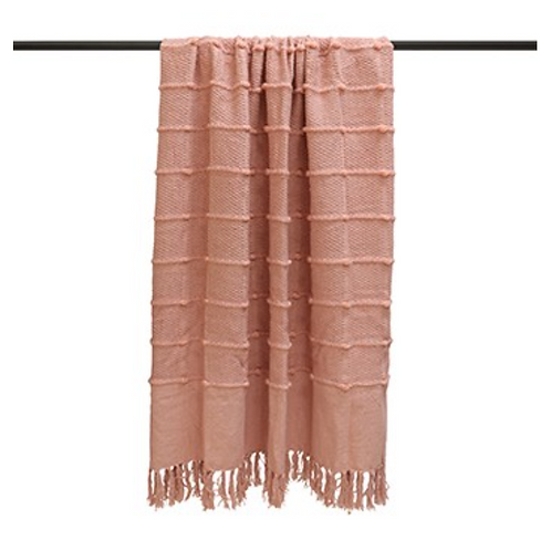 BLUSH TASSELLED THROW 140CM X 180CM