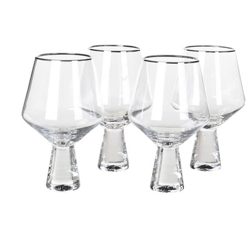 4 SILVER RIM WINE /GIN GLASSES