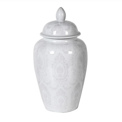 LARGE GREY AND WHITE LIDDED JAR
