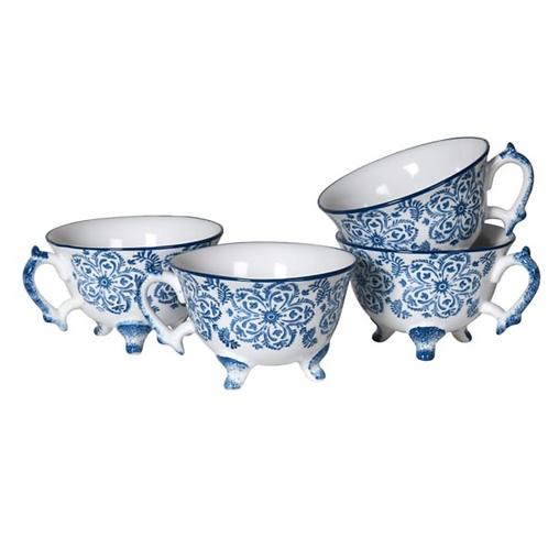 BLUE & WHITE TEACUPS ON FEET (SET OF 4)