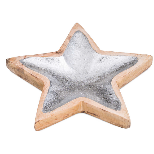 SILVER WOODEN STAR DISH