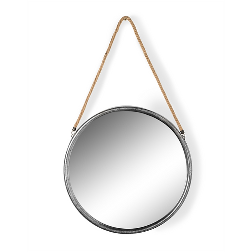 LARGE ROUND SILVER MIRROR WITH ROPE HANGER