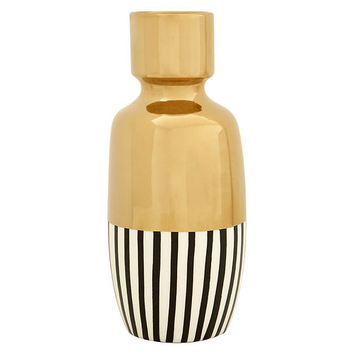 TALL GOLD VASE WITH BLACK AND WHITE STRIPES