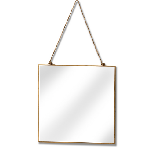 GOLD SQUARE MIRROR WITH CHAIN