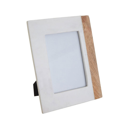 "WHITE MARBLE AND MANGO WOOD PHOTO FRAME -  5""X7"""
