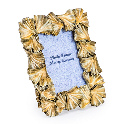 "GOLD GINKGO LEAF PICTURE FRAME - 4""X6"""