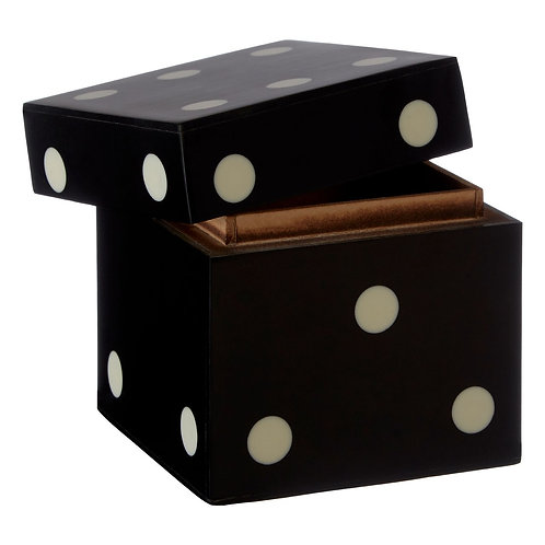 BLACK DICE BOX & 5 BLACK DICE