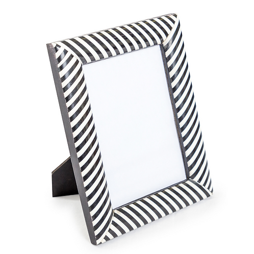 "BLACK AND WHITE STRIPED FRAME - 5""X7"""