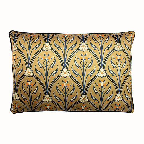 CARAMEL AND NAVY PATTERNED CUSHION 60X40CM