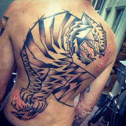Tiger backpiece tattoo