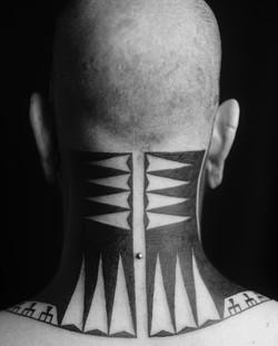 Marquesan neck tattoo