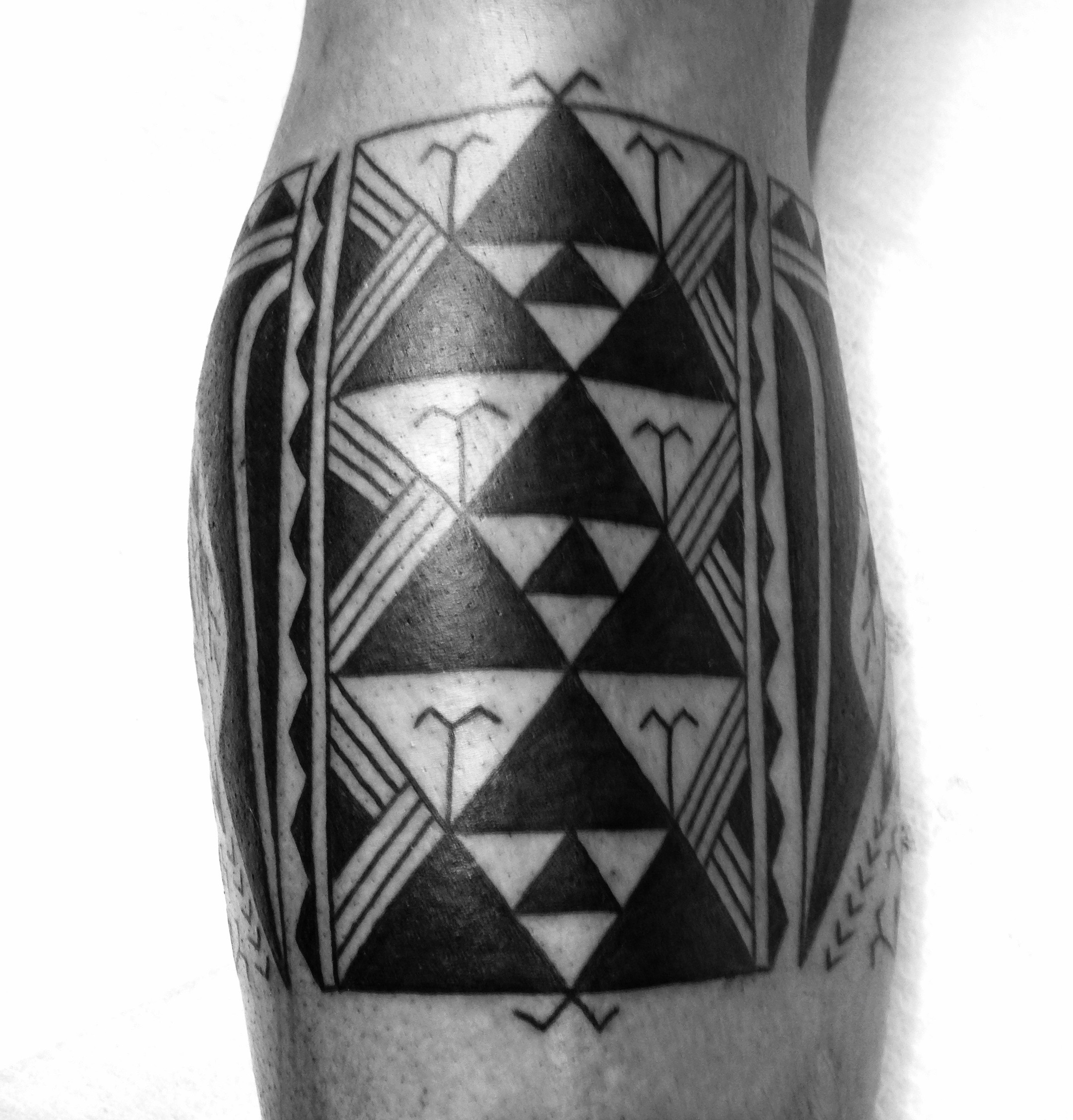 Marquesan calf tattoo