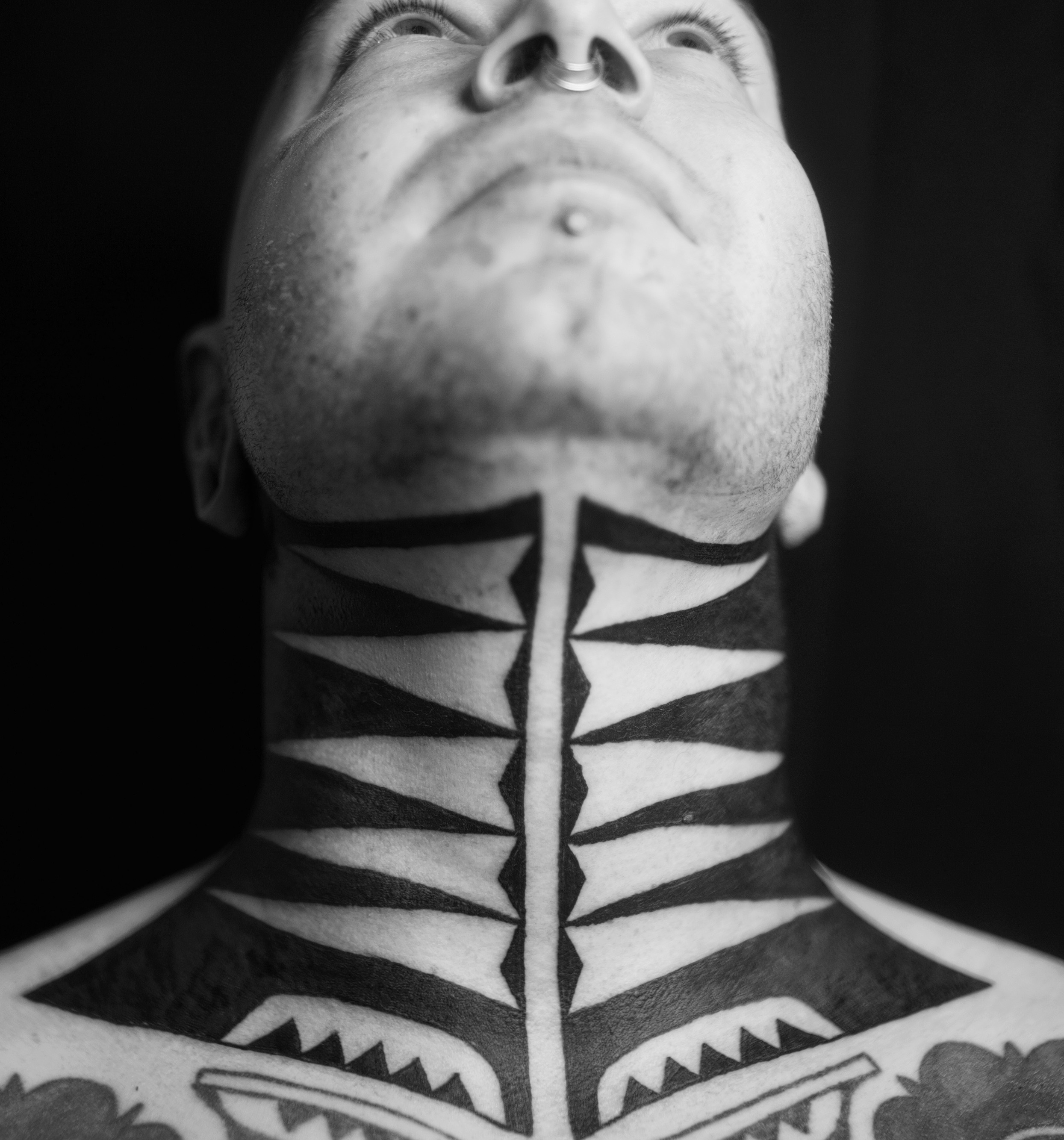 Marquesan neck tattoo