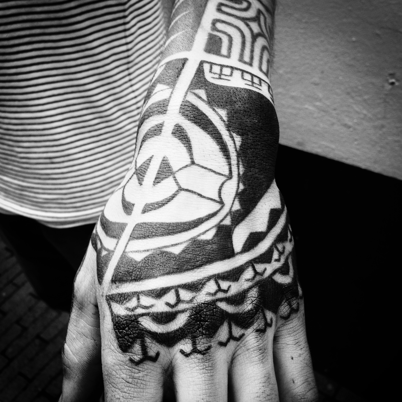 Marquesan hand tattoo