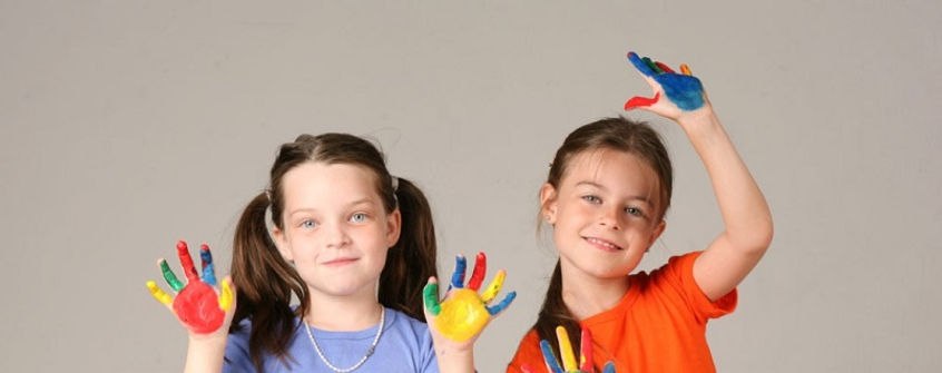 Children hand painting