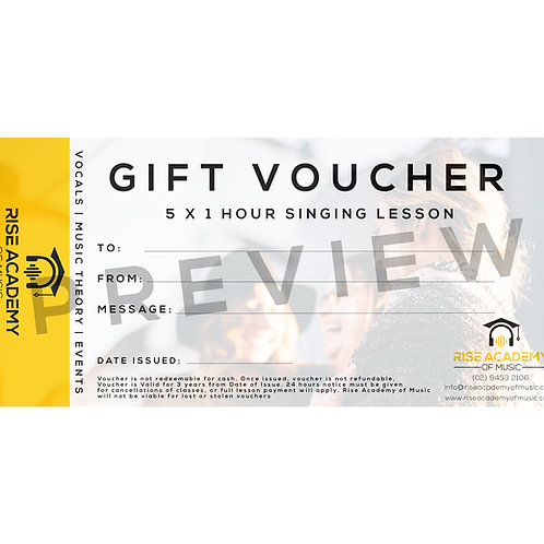 Gift Voucher (Digital) - 5 x 1 Hour Singing Lesson