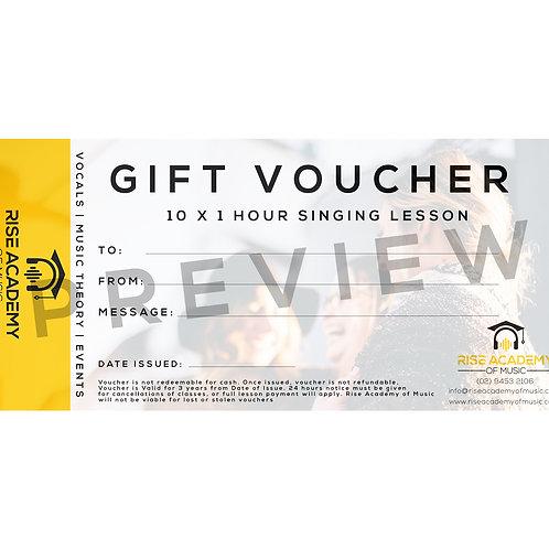 Gift Voucher (Digital) - 10 x 1 Hour Singing Lesson